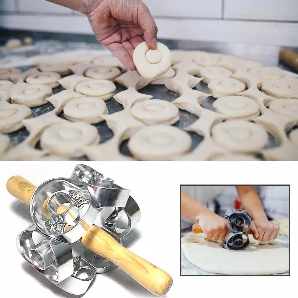 قطاعة دونات دوارة معدنية ، قالب كيك ، خميرة ، افعلها بنفسك ، أسطوانة عجين المعجنات ، أدوات الخبز