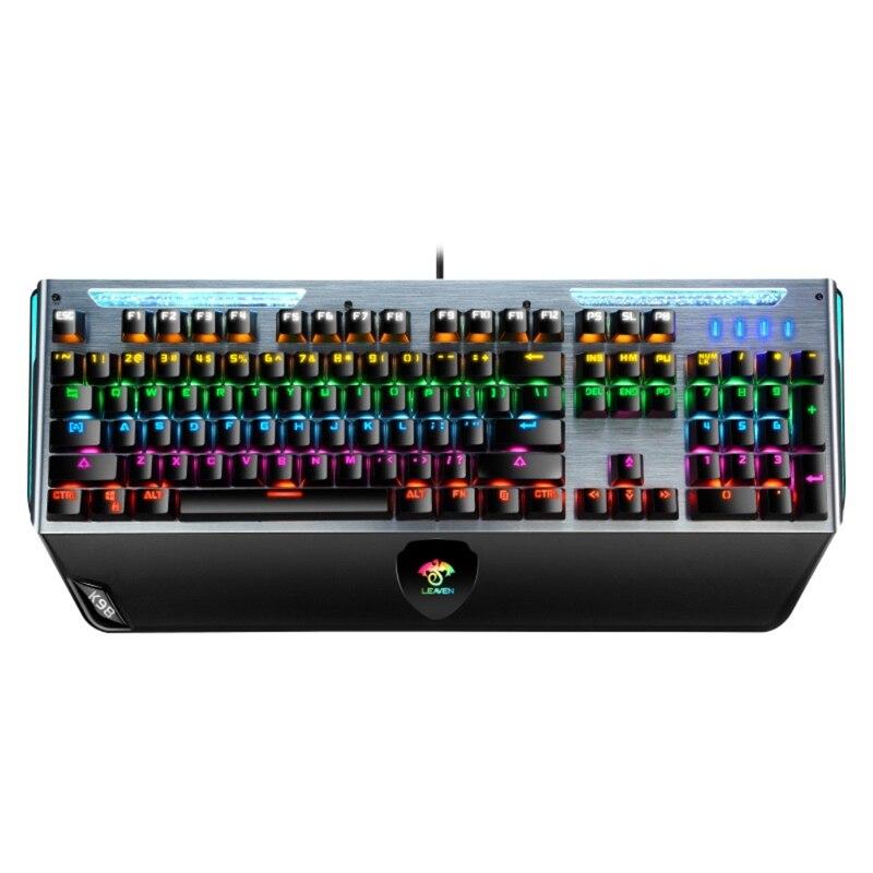 الألعاب LED السلكية لوحة المفاتيح ث/انبعاث شخصية قوس قزح الخلفية الميكانيكية يشعر QW
