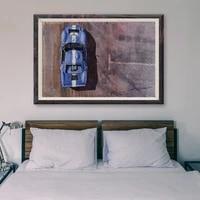 Peinture classique de voiture de course retro  voiture de sport bleue  20  affiche en soie personnalisee  decoration murale  cadeau de noel  T167