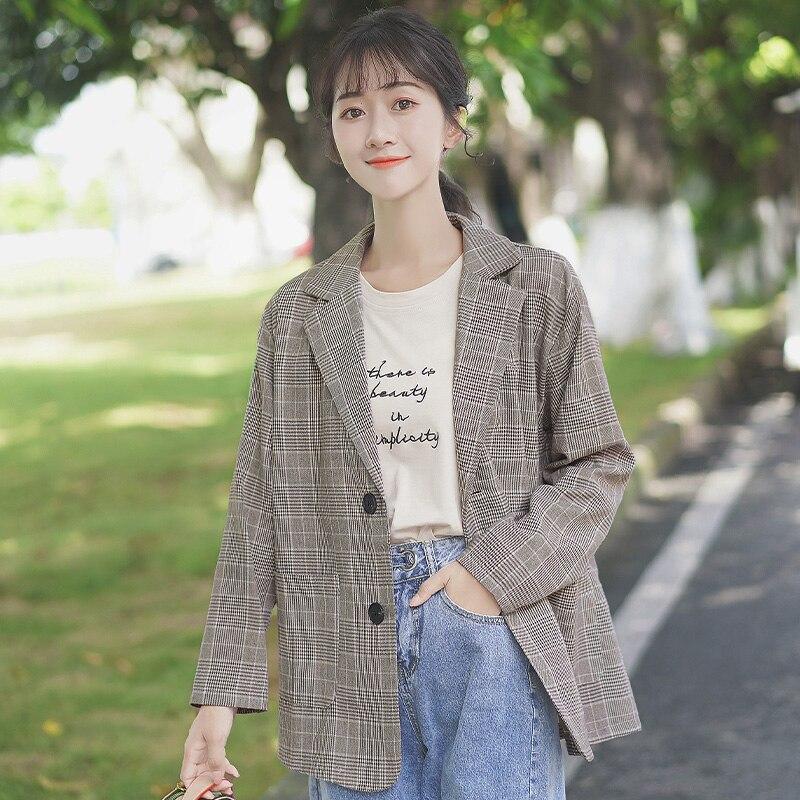 Chic Khaki Spring and Autumn 2020 New Loose Pattern Suit Female Student Design Sense Suit Jacket Cas