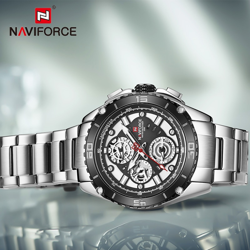 NAVIFORCE Three Dial Calendar Stainless Steel Men Mechanical Automatic Wrist Watches Top Brand Luxury Military Sport Male Clock enlarge
