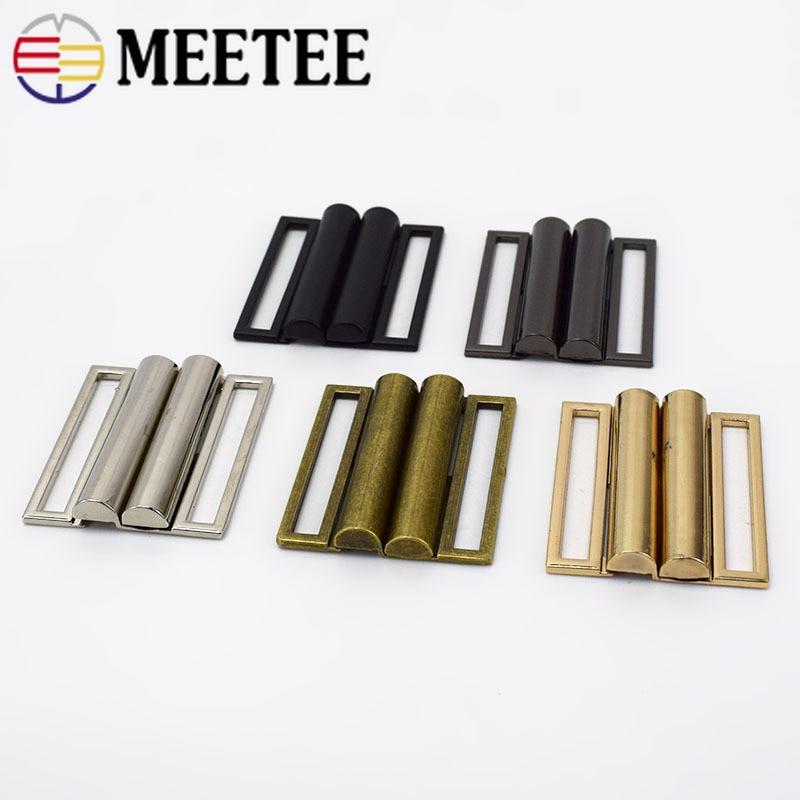 10 conjuntos meetee 40mm-60mm metal cinto fecho fivela ferrolho botões para costura casaco para baixo jaqueta sacos vestuário decoração acessórios F1-31