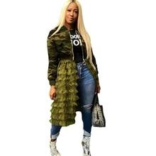 Plus Size Camouflage Jacket Women Autumn Coat Streetwear Long Sleeve Army Green Mesh Patchwork Casual Bomber Jacket Women