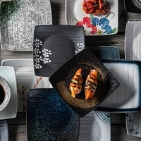 japanese style ceramic sushi dishes creative rough ceramic tableware snacks snacks square dishes home dishes kitchen supplies
