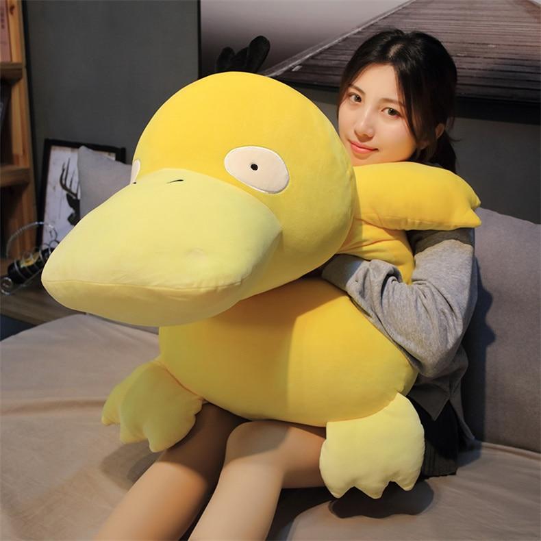 Плюшевые игрушки в стиле аниме «Пикачу психоут» большого размера, милая мультяшная утка, мягкая набивная кукла, подушка для детей, подарок н...