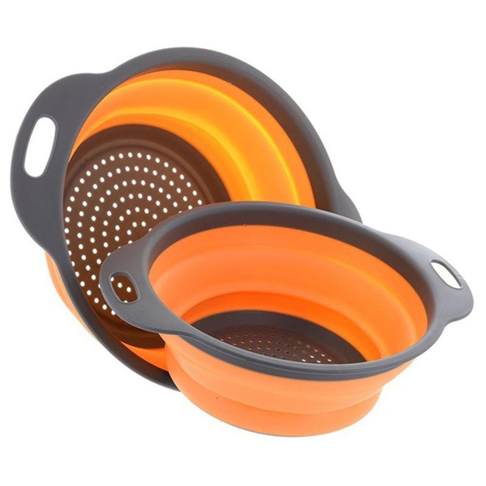 Colador plegable de silicona no tóxico, 1 Uds., colador de cesta para lavar frutas y verduras con mango, herramienta de cocina plegable