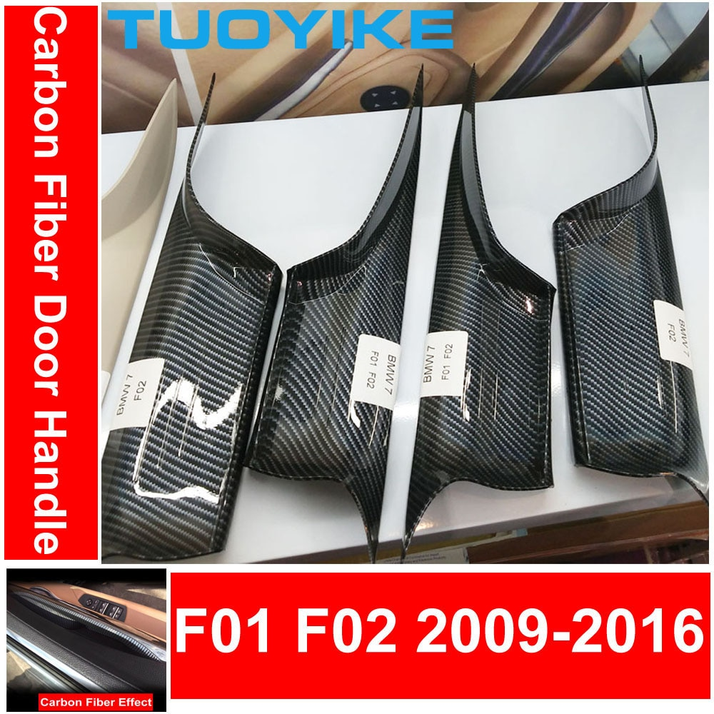 Car Interior Door Handle Black Cream Carbon Fiber Kit For BMW F01 F02 7-series Front Rear Left Right Inner Panel Pull Trim Cover