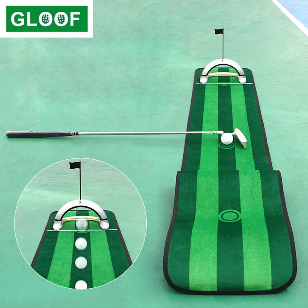 Golf Putting Green Mat with Ball Return Device Golf Game Practice Equipment Gifts for Men Home Office Backyard Indoor Outdoor