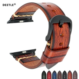 DEETLE Handmade Leather Watch Strap Replacement For Apple Watch Band 44mm 40mm 42m 38mm Series 5 4 3 2 iWatch Watchband