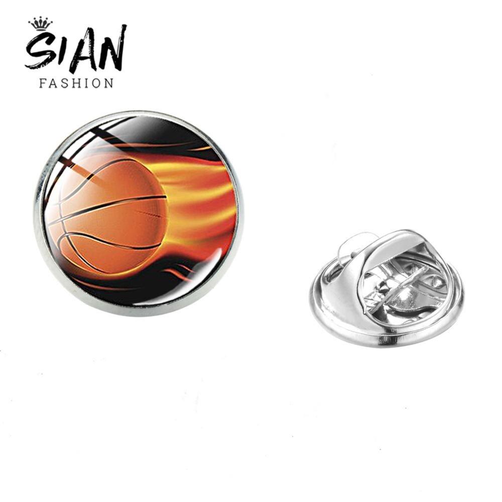Sian alta qualidade basquete broche de vidro futebol beisebol arte de aço inoxidável dos homens das mulheres broches colar pino atacado