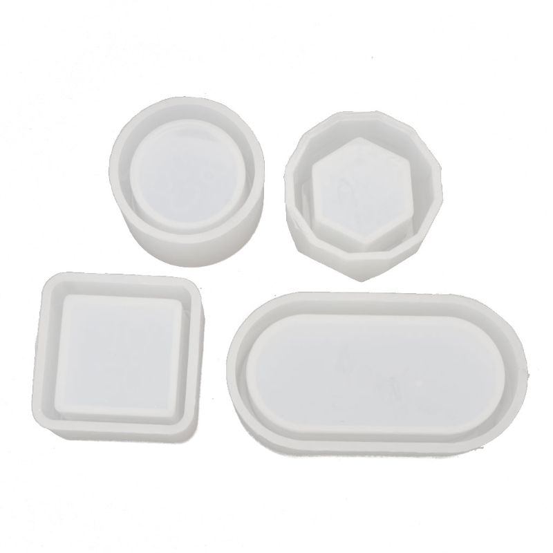 4 unids/set DIY caja de silicona de resina moldes Kit Mini redondo cuadrado flor maceta molde del almacenaje