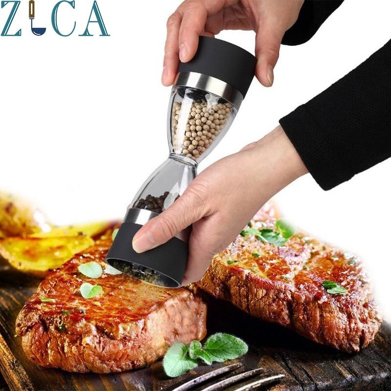 ZLCA Manuell 2 In 1 Form Dual Salz Pfeffer Grinder Kochen Werkzeuge Rot Schwarz Küche Werkzeug Zubehör Gewürzmühle Freies verschiffen