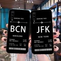 personalised plane ticket luxury unique design phone cover for xiaomi mi10 10pro 10 lite mi9 9se 8se pocophone f1 mi8 lite