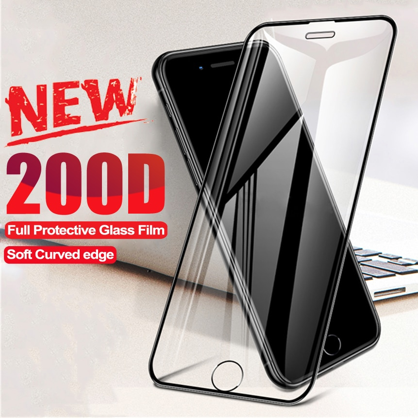 200D Curved Protective Glass For iphone 8 7 6 6S Plus SE 2020 Screen Protector iphone X XR XS 11 12