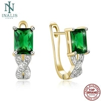 inalis square shape stud earrings for women green 5a clear cubic zircon anniversary earring simple fashion jewelry new arrival