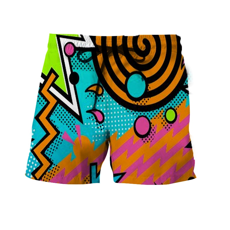 3D printed beach quick-drying shorts popular for men and women in the summer of the 90s