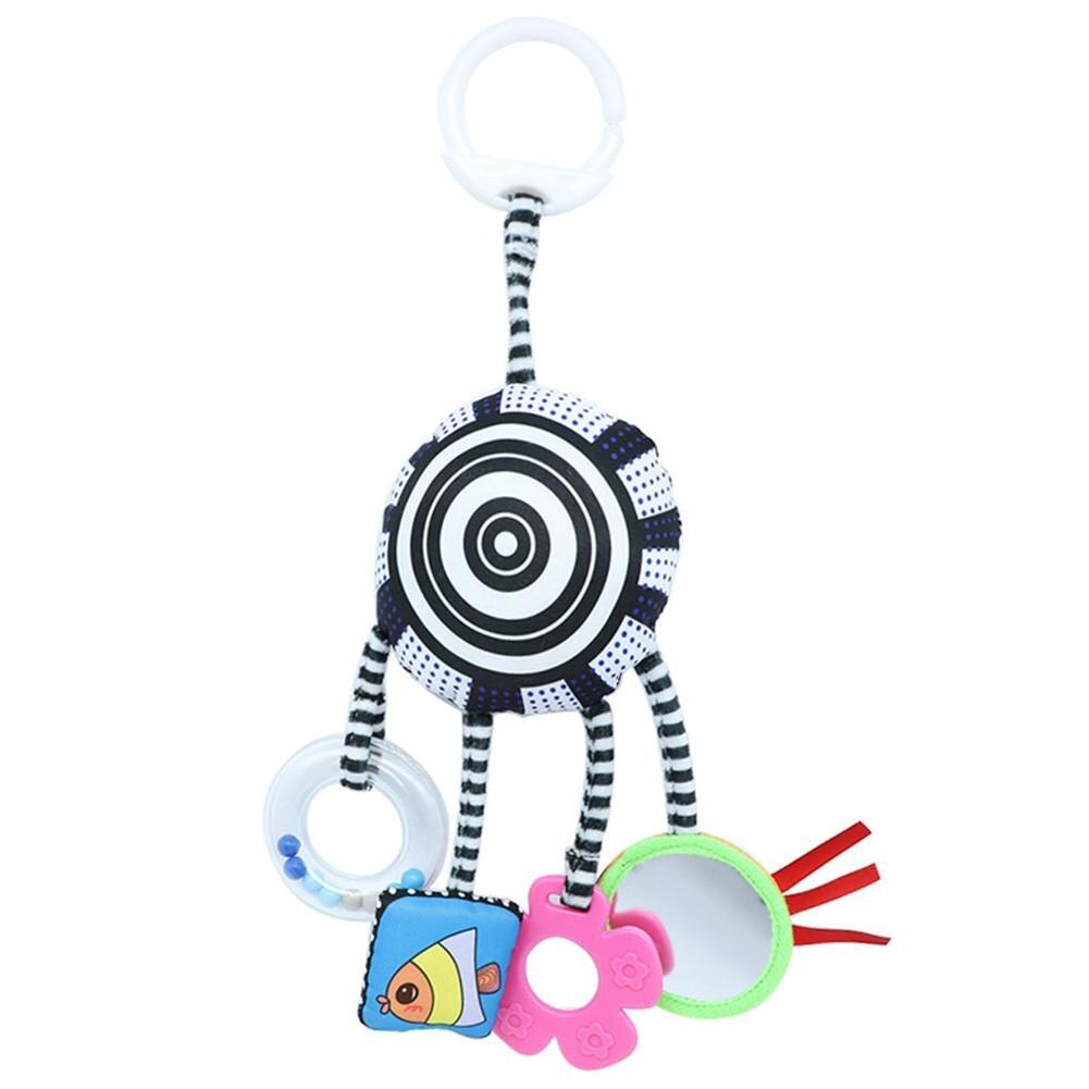 Kuulee bebé colgante sonajero infantil de tela blanco y negro cama de bebé remolque juguetes con clips