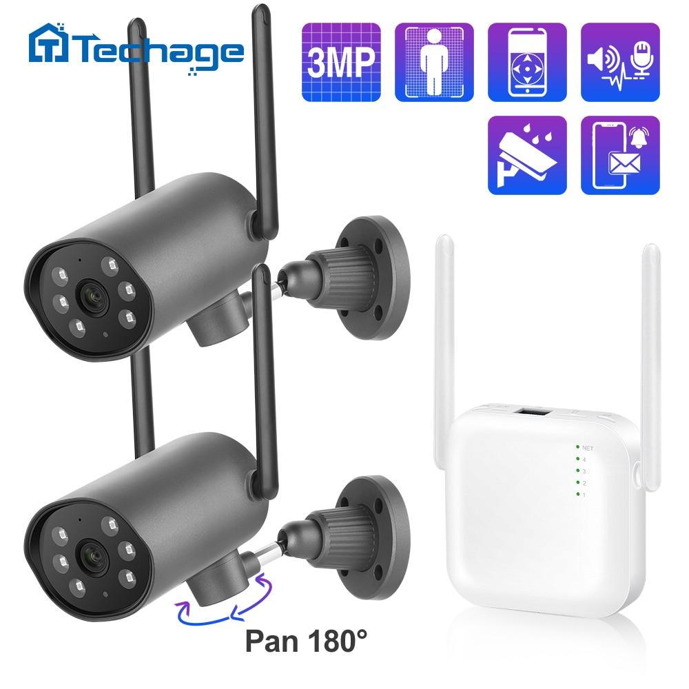 Techage Mini 3MP 4CH اللاسلكية الأمن طقم NVR اتجاهين الصوت في الهواء الطلق المراقبة بالفيديو PT IP كاميرا الإنسان كشف مراقبة الطفل