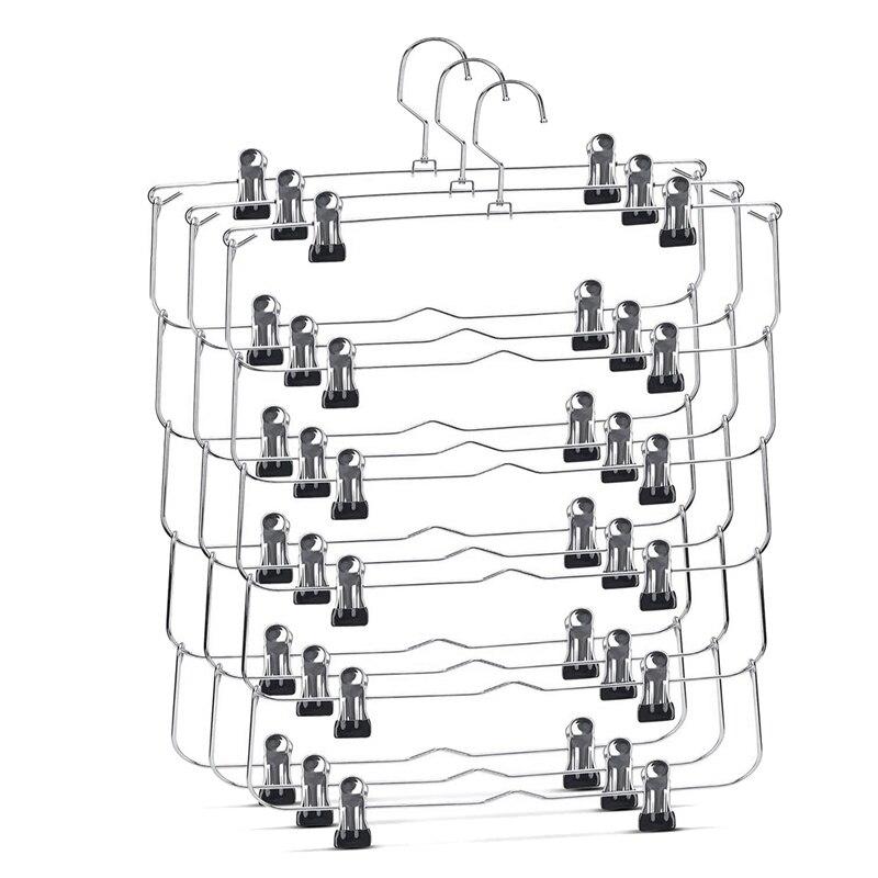 3 قطعة 6-الطبقة تنورة السراويل السراويل الشماعات مع قابل للتعديل مقاطع الفضاء إنقاذ أي زلة الشماعات تنورة المنظم