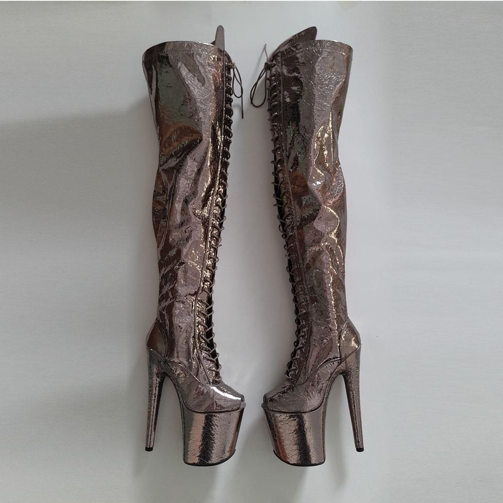 Leecabe Shinny Gun Color 20CM/8Inch  Women's Platform Sandals  party High Heels Shoes Pole Dance long boot