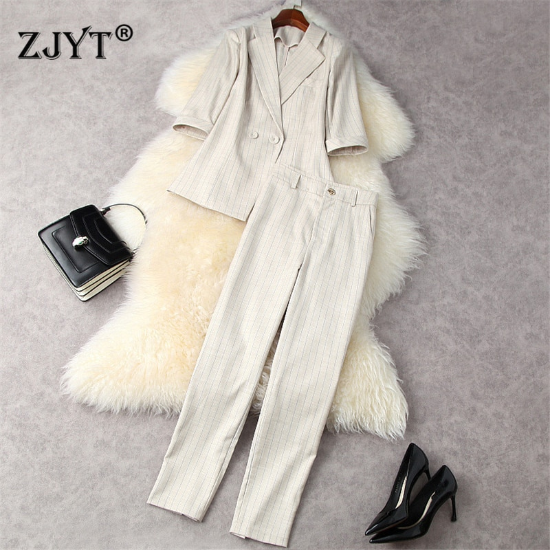Spring Fashion British Style Striped Blazer Suits Women Elegant Office Lady Formal Two Piece Outfits Top and Pants Sets