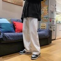 spring korean wide leg jeans mens fashion casual white jeans men streetwear loose hip hop straight denim trousers mens m 2xl