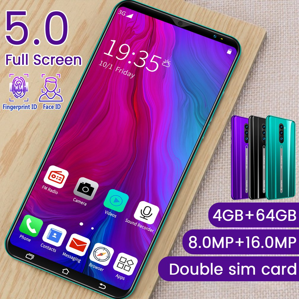 3G Smartphone 5.0 Inch Full Screen Android Hd Screen Smartphone Fingerprint Unlock Machine 4+64G Flash Memory