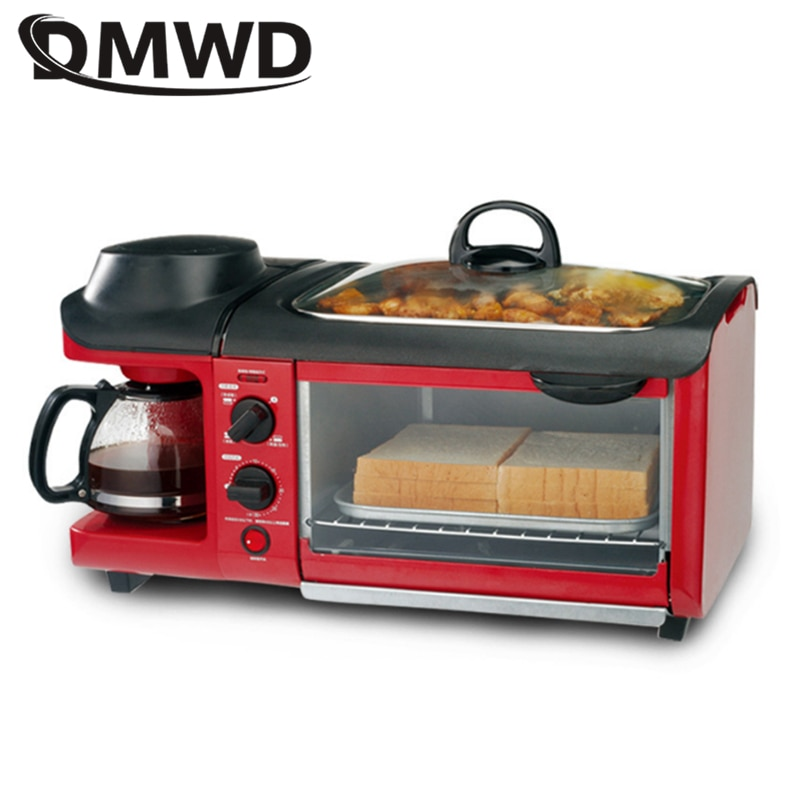 DMWD Multifuntion 3 в 1 кофеварка для завтрака тостер мясо гриль для выпечки/жареное яйцо/Кофе Жаровня электрическая духовка для дома