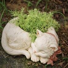 Pot de fleur en résine pour chat blanc   Bonsaï créatif mignon, Pot en Pot de plantes en Pot pour balcon, Vase de maison, décor Micro de paysage