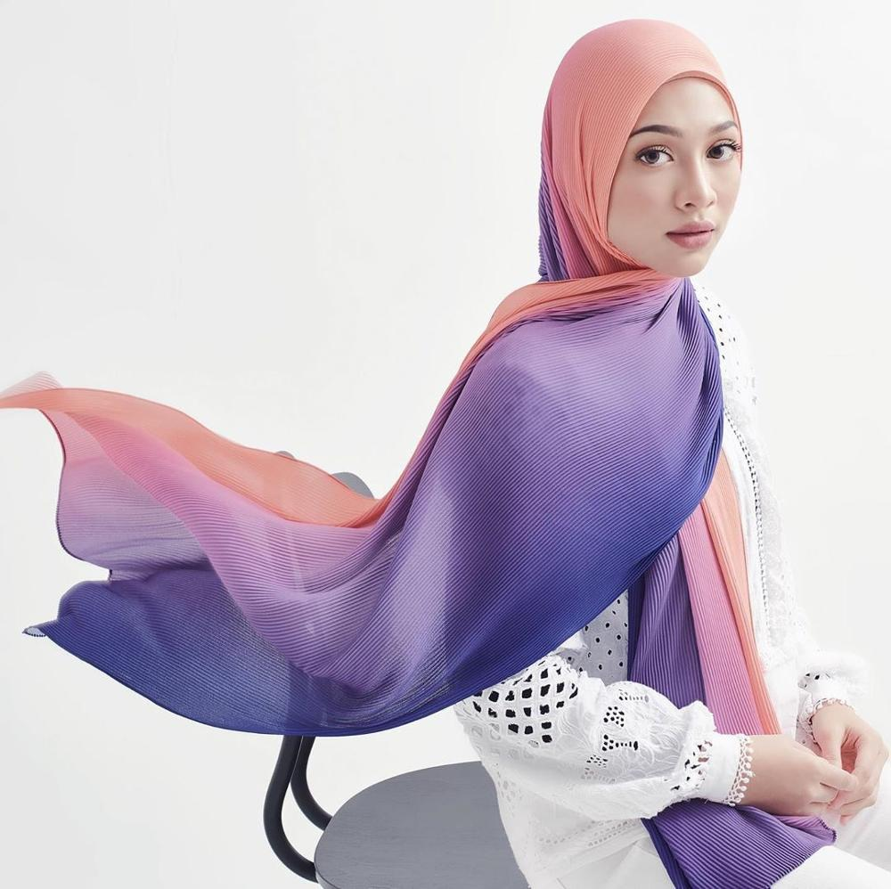 pleated hijab muslim fashion accessories hijab for women crinkle scarf chiffon headscarf for ladies solid color head wrap 2020 Fashion Muslim Women bubble chiffon Hijab Scarf Crinkle Gradient color Headscarf Shawl islamic wrap head turbans scarves