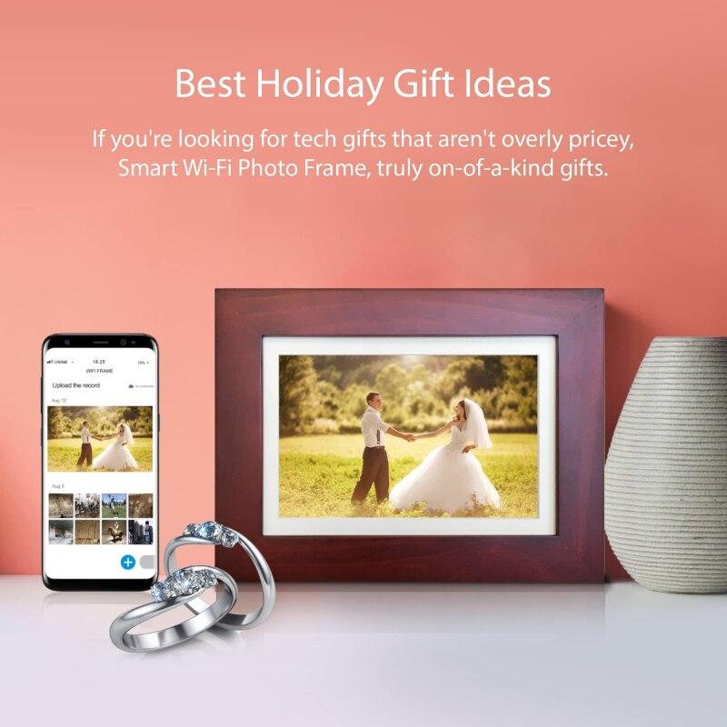Tuya WiFi 8 بوصة شاشة HD LED إطار صور رقمية 1280x800 وظيفة التحكم عن بعد صورة مشغل فيديو الموسيقى ساعة ألبوم هدية