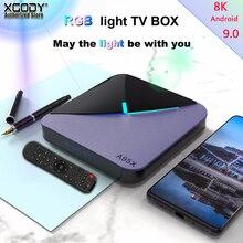 Xgody suporte plex rgb luz inteligente caixa de tv amlogic amlogic s905x3 a95x f3 android 9.0 4k tv conjunto caixa superior 4gb ram duplo wifi bt4.2