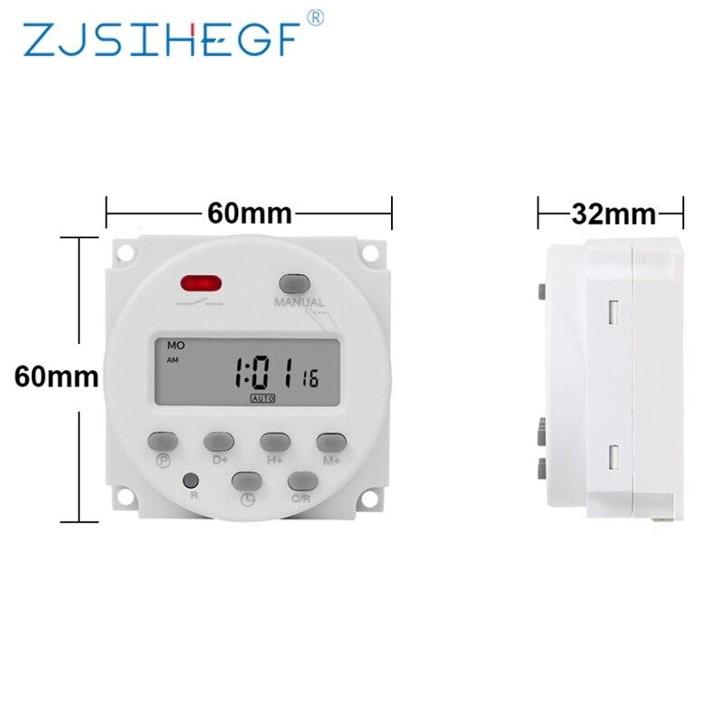 Cn101a 220v 230v 240v digital lcd power timer 7 dias semanal programável tempo relé programador embutido bateria recarregável