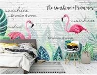 xue su wall covering custom wallpaper mural modern white brick wall hand painted flamingo monstera art background wall
