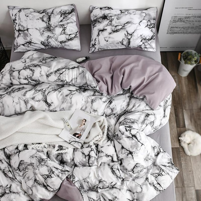 The Bedroom Bedding Is A Comfortable White Marble Pattern Printed Duvet Cover (2/3 Piece Set), Single And Double Super Large 2
