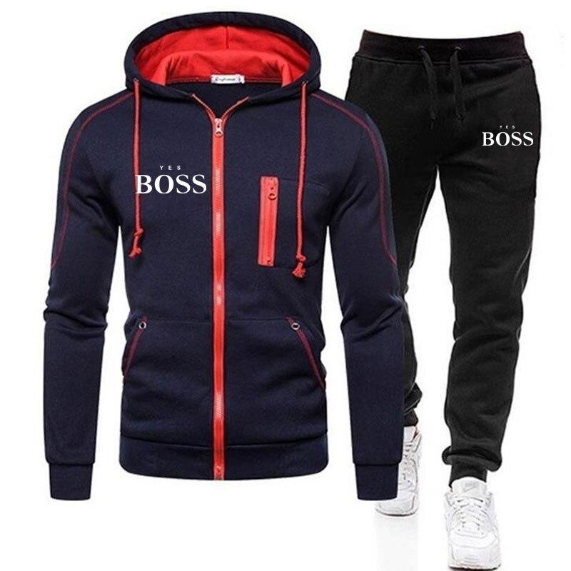 Brand Yes Boss Men Tracksuit 2 Pieces Sets Winter Jacket Casual Zipper Jackets Sportswear+Pants Swea