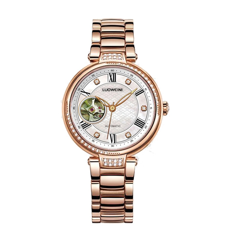 LUOWEINIstainless steel automatic mechanical watch ladies fashion all-match diamond-studded ladies waterproof watch enlarge