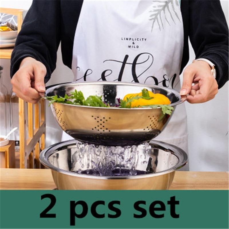 Edelstahl Leck Reis sieb Waschen sieb Becken Wasser Ablassen Sieb Obst Gemüse Körbe Kreis runde angespannt becken