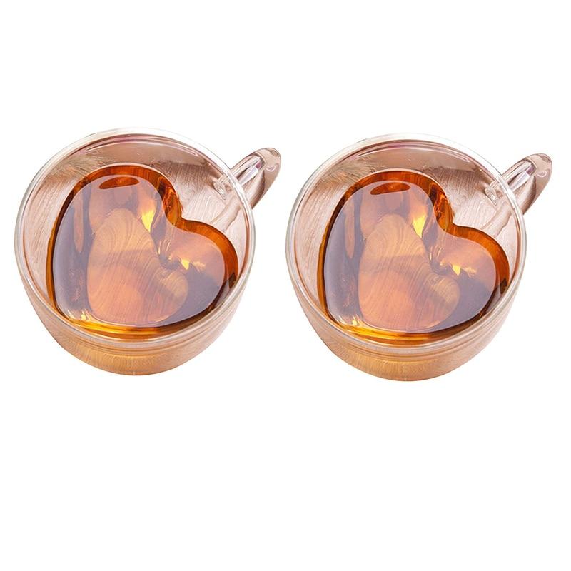 2 unids/lote taza de cristal transparente creativa a la moda en forma de corazón taza de leche 2 tamaños DDC-37