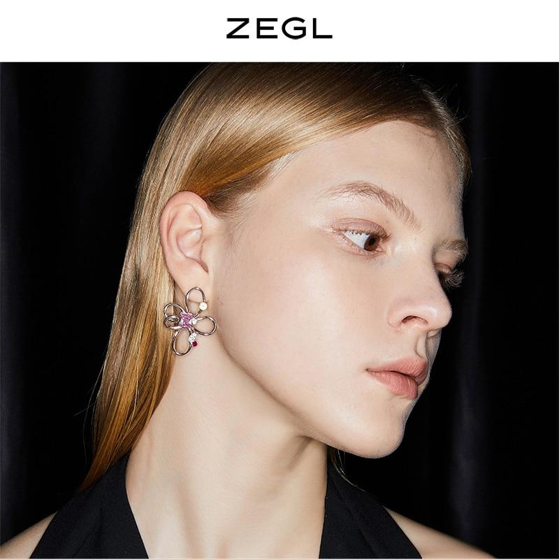 Zegl Designer Colored Gems Series Abstract Line Flower Earrings for Women Special-Interest Design Stud Earrings 925 Silver Pin