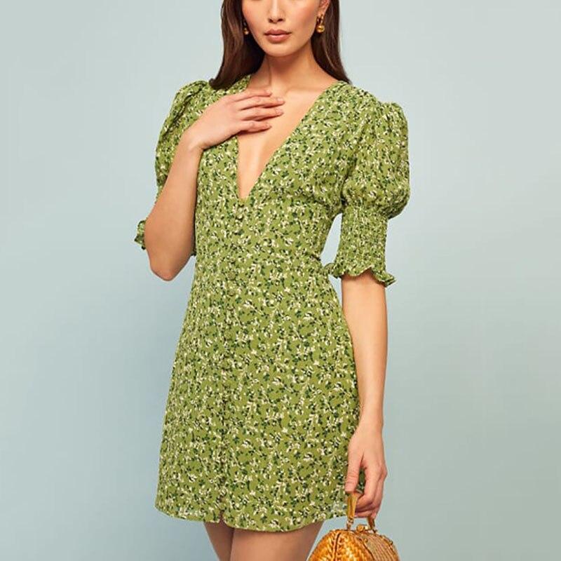 2020 Summer Vintage Party Dress V Neck Ruffle Sleeve Elegant Sexy Dress Beach Female Green Floral Print Mini Dresses Vestidos