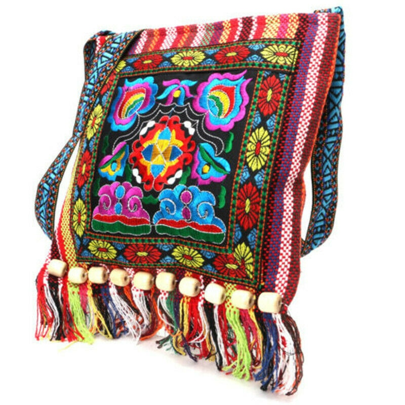 Hmong Vintage Chinese National Style Ethnic Shoulder Bag Embroidery Boho Hippie Tassel Tote Messenger Shopping Bags yunnan folk style floral embroidered medium size handbag ethnic hilltribe tote vintage shoulder bag peony coin butterfly