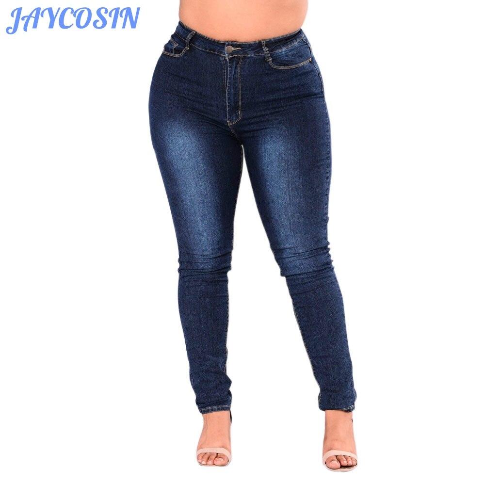 Jaycosin roupas femininas plus size 5xl calças de brim sexy estiramento magro calças de brim moda casual fino cintura alta lápis jeans mujer