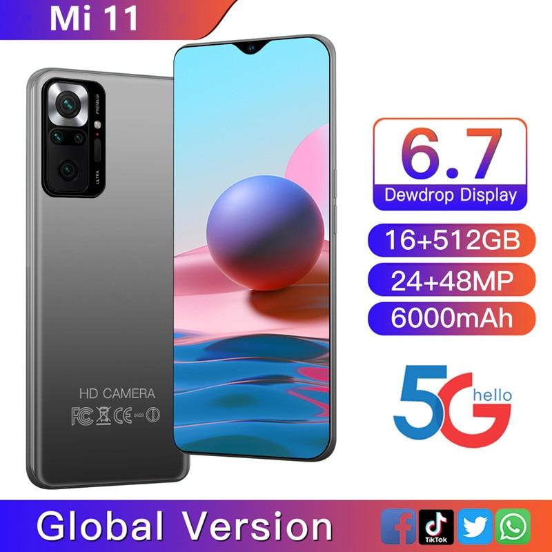 Global Version Mi 11 Smartphone Android 16GB 512GB 10 Core 48MP Carema CellPhone 6000mAh Battery Daul SIM Mobile Phones