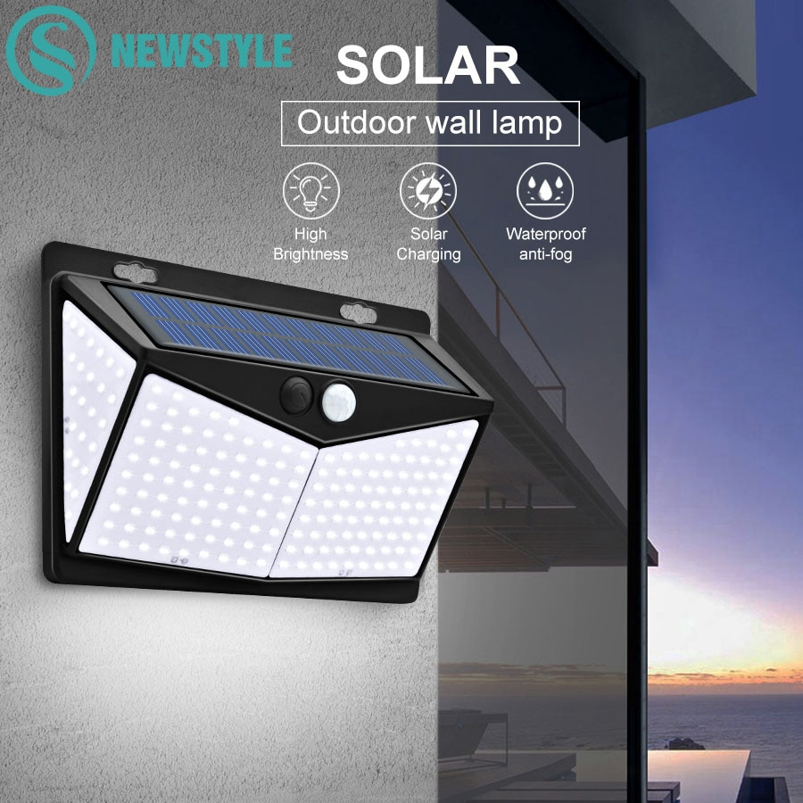 3 Modes 208 Bright Led Motion Sensor Light Waterproof Wireless Security Solar Wall Light For Pathway Walkway Front Door Yard
