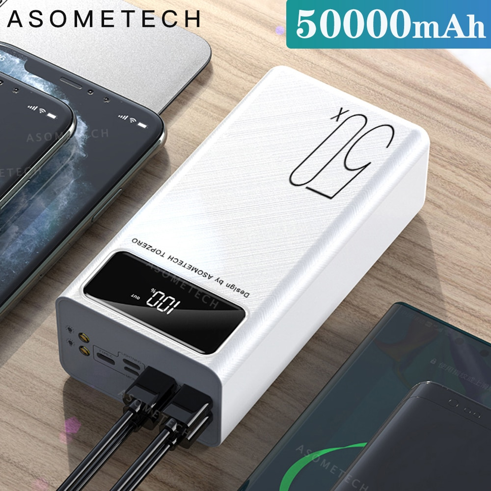 Power Bank 50000mAh Portable Charger LED Light Poverbank Powerbank 50000 mAh External Battery For iP