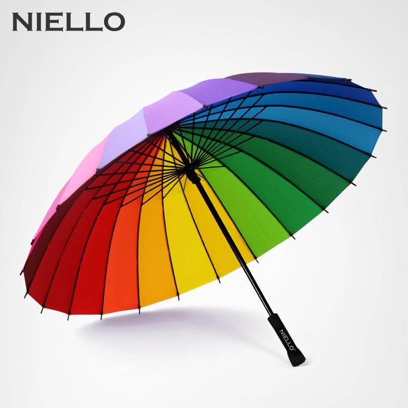 Paraguas de mango largo resistente al viento de 24 K, armazón resistente al agua, Paraguas de moda arcoíris para lluvia, Paraguas colorido para mujeres 50RR075