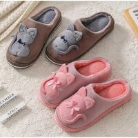 woman autumn winter flat home slippers cute cat womens soft plush furry women warm fluffy ladies female couple style shoes