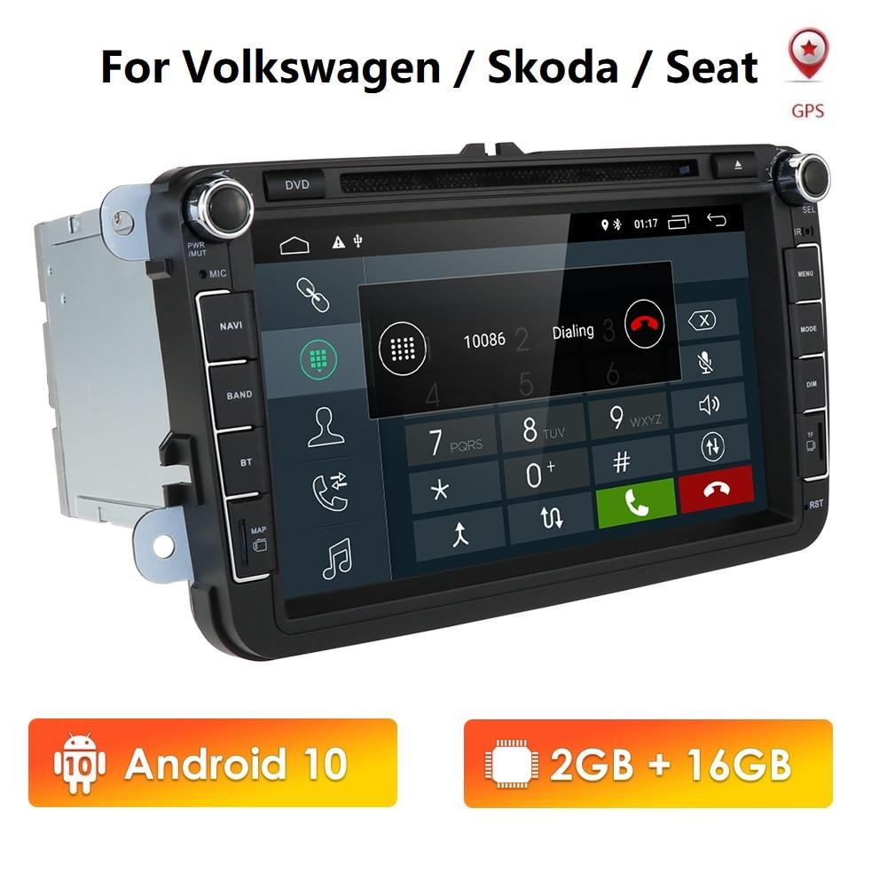 IPS DSP 4G 128G Android 10 2DIN Car GPS PLAYER for Seat Altea Toledo VW GOLF 5/6 Polo Passat B6 CC Tiguan Touran RADIO DVD WIFI