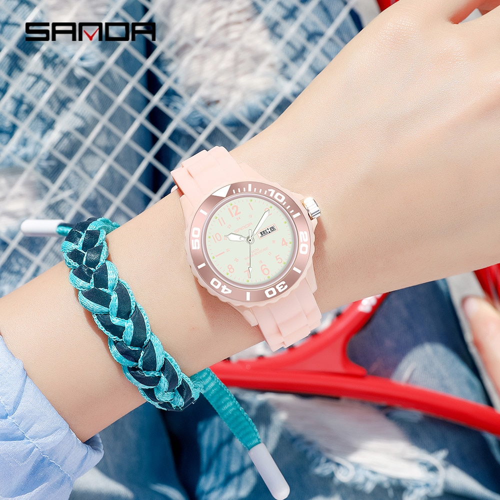 SANDA Fashion Ladies Watch Sports Silicone Strap Blue Watch Women's Watches Date Casual Women Clock Watches for Women Relojes enlarge